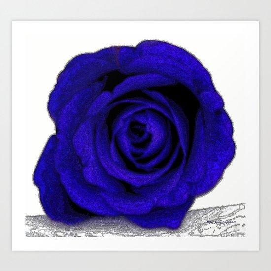 Blue Rose Poster Edges Art Print