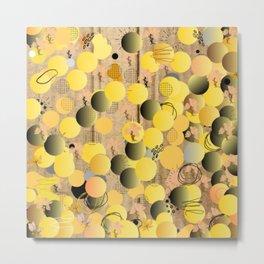 Black and Yellow, Circular Balls, Abstract Metal Print