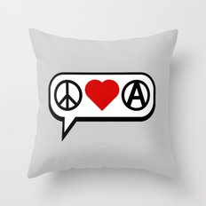 Peace. Love. Anarchy. Throw Pillow