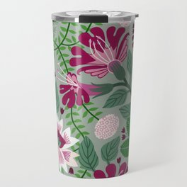 Magenta flowers on grey Travel Mug
