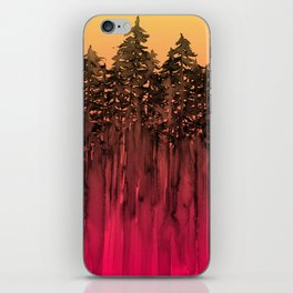 FOREST THROUGH THE TREES 12 Hot Pink Magenta Orange Black Landscape Ombre Abstract Painting Outdoors iPhone Skin