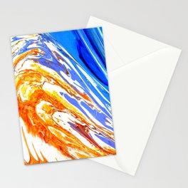 Riding the Wave of Orange Emotion; Fluid Abstract 53 Stationery Cards