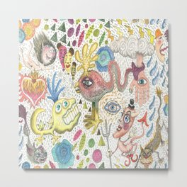 maximalism maximalist pastel pencil surreal fantasy Metal Print