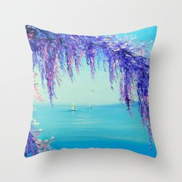 Wisteria by the sea Throw Pillow