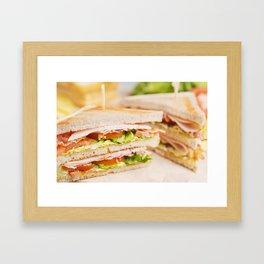 Club sandwich on a rustic table in bright light Framed Art Print
