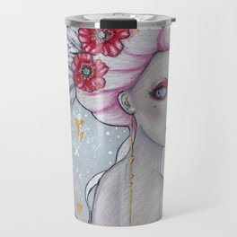 Poppies and Feathers Travel Mug