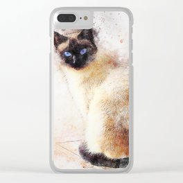 Siamese Cat (Abstract) Clear iPhone Case