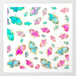 Turquoise pink teal white watercolor cute butterfly Art Print