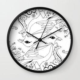 Blackbirds, Black Ink on White Wall Clock