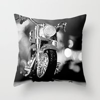 motorbike Throw Pillows featuring Motorbike-B&W by Yar's Photography