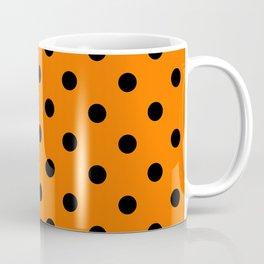 Extra Large Black on Pumpkin Orange Polka Dots Coffee Mug