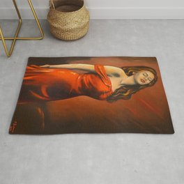 Beautiful Lady in the Red Dress Rug