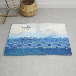 Sky Fish - Warming Oceans and Sea Level Rising Rug