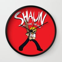 shaun of the dead Wall Clocks featuring Shaun vs. the Dead by HuckBlade