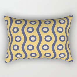Mid Century Modern Rising Bubbles Pattern Blue and Yellow Rectangular Pillow