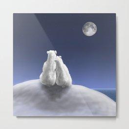 Polar Bears by Moonlight Metal Print