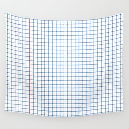 Dotted Grid Red and Blue Wall Tapestry