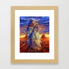 native american colorful portrait Framed Art Print