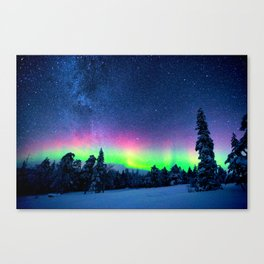 Aurora Borealis Over Wintry Mountains Canvas Print