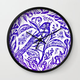 Songbird In Magnolia Wreath, Purple Linocut Wall Clock