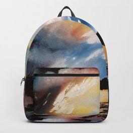 Moody Sunset, Dark Sunset, Abstract Sunset, Seascape, Sunscape, Skyscape Backpack