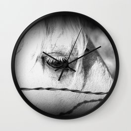 Horse's Eye: Black and White Photo Wall Clock