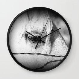 Horse's Eye: Black and White Photo Wall Clock