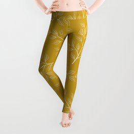 White Branch and Leaves on Mustard Yellow Leggings