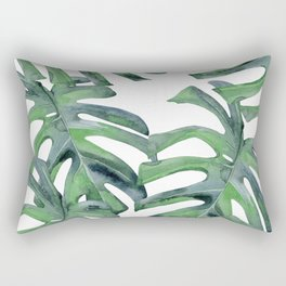 Tropical Palm Leaves Green on White Rectangular Pillow