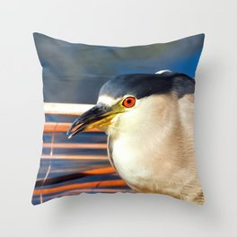 Happy Black Crowned Night Heron Throw Pillow
