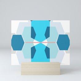 Blue Body sculpt hexagons Mini Art Print
