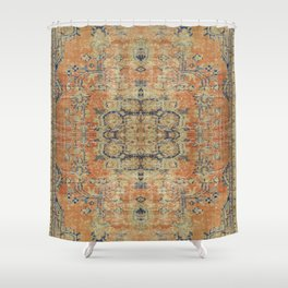 Vintage Woven Coral and Blue Kilim Shower Curtain
