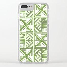 UrbanNesian Green Tatau Print Clear iPhone Case