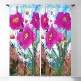 From the Heart Abstract Floral Painting Blackout Curtain