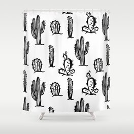 Black cactus seamless pattern on white background. Shower Curtain