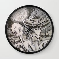alien Wall Clocks featuring Alien by Ju.jo.weh