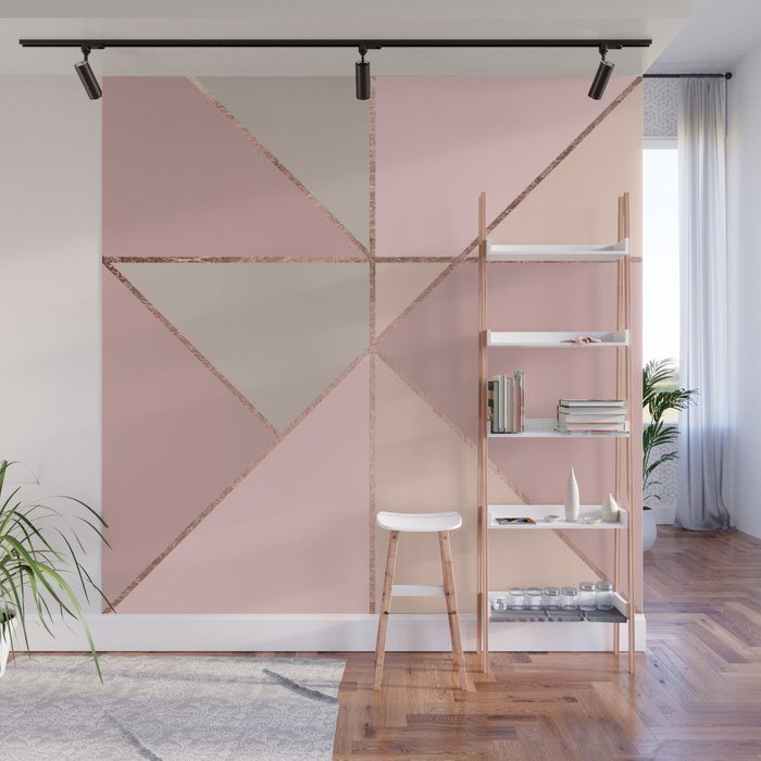Modern rose gold peach blush pink color block Wall Mural