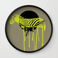 zebra Wall Clocks featuring Zebra by ministryofpixel