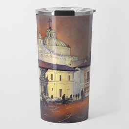 Fine art watercolor painting of church rising over colonial buildings in El Centro of downtown Quito Travel Mug