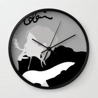 kurt rahn Wall Clocks featuring kurt cobain.  by JessicaSzymanski