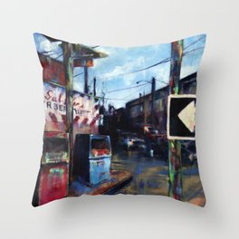 Old Gas Pumps & the Barber Shop Throw Pillow
