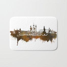 Cracow skyline city brown Bath Mat