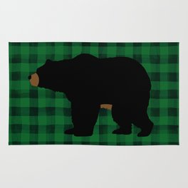Black Bear - Green Plaid Rug