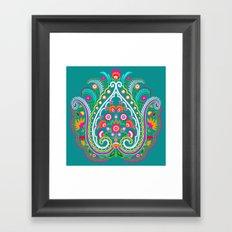 folk turquoise damask Framed Art Print