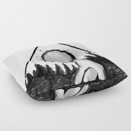 Alien in the forest, triangle portrait Floor Pillow