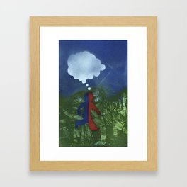 Red Blue Boy Framed Art Print