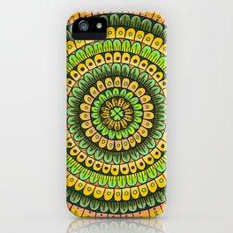 Lucky Shamrock Green and Gold Mandala Colored Pencil Illustration by Imaginarium Creative Studios iPhone Case
