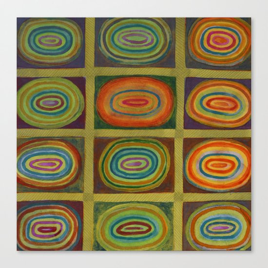 Ringed Ovals within Hatched Grid Canvas Print