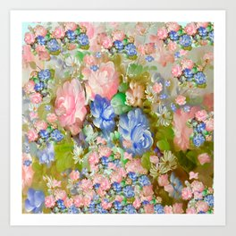 ROSES PINK AND PAINTERLY BLUE SO SHABBY CHIC Art Print