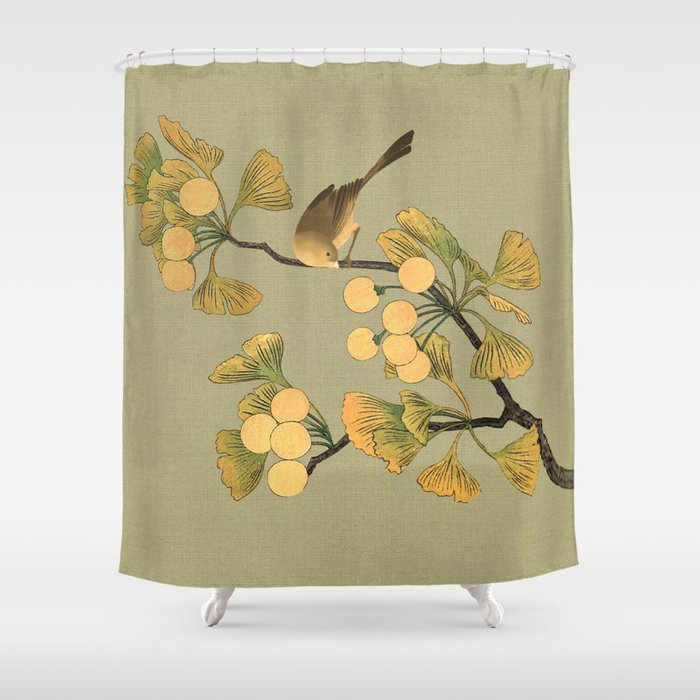 Bird In Ginkgo Tree Shower Curtain